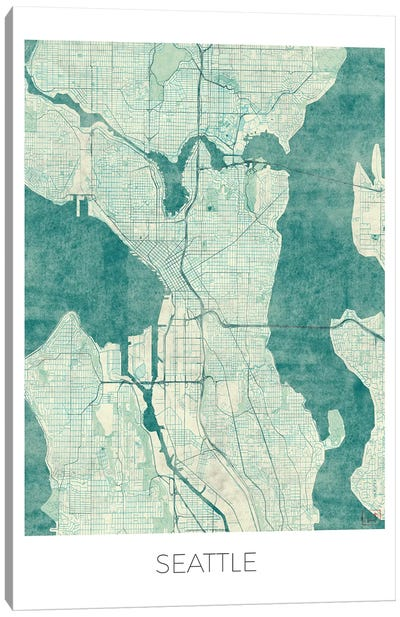 Seattle Vintage Blue Watercolor Urban Blueprint Map Canvas Art Print