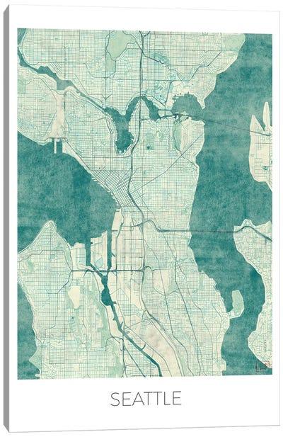 Seattle Vintage Blue Watercolor Urban Blueprint Map Canvas Art Print