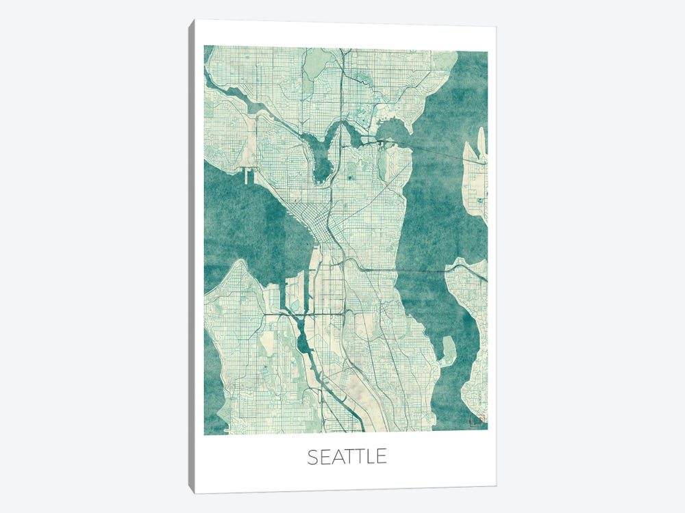 Seattle Vintage Blue Watercolor Urban Blueprint Map by Hubert Roguski 1-piece Canvas Wall Art