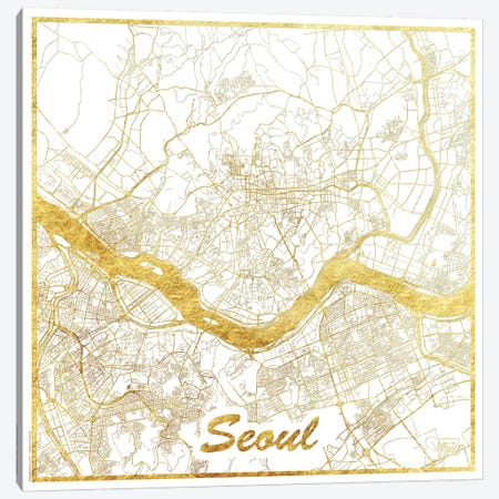 Seoul Gold Leaf Urban Blueprint Map Canvas Print #HUR347} by Hubert Roguski Canvas Artwork