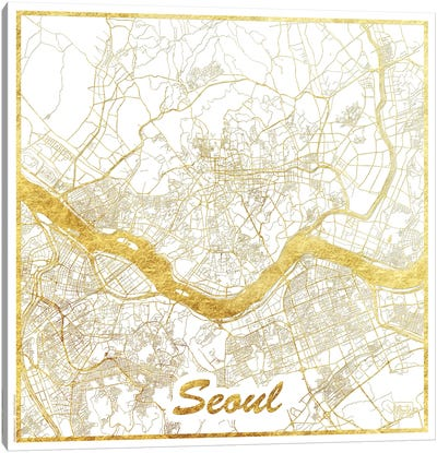 Seoul Gold Leaf Urban Blueprint Map Canvas Art Print