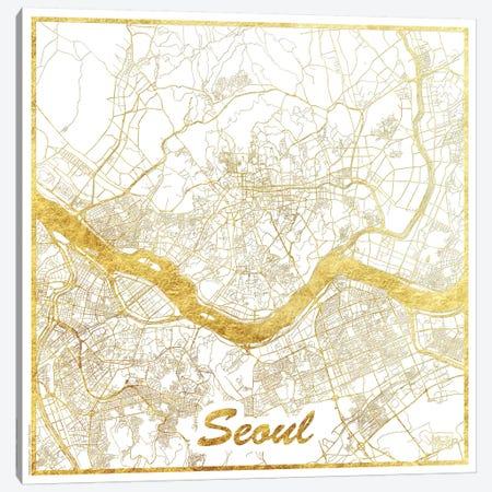 Seoul Gold Leaf Urban Blueprint Map Canvas Print #HUR347} by Hubert Roguski Canvas Artwork