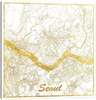 Seoul Gold Leaf Urban Blueprint Map Canvas Art Print