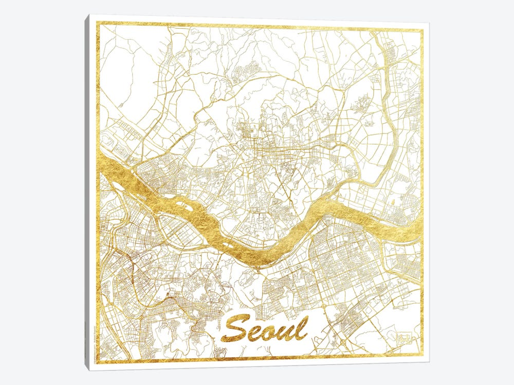 Seoul Gold Leaf Urban Blueprint Map by Hubert Roguski 1-piece Art Print