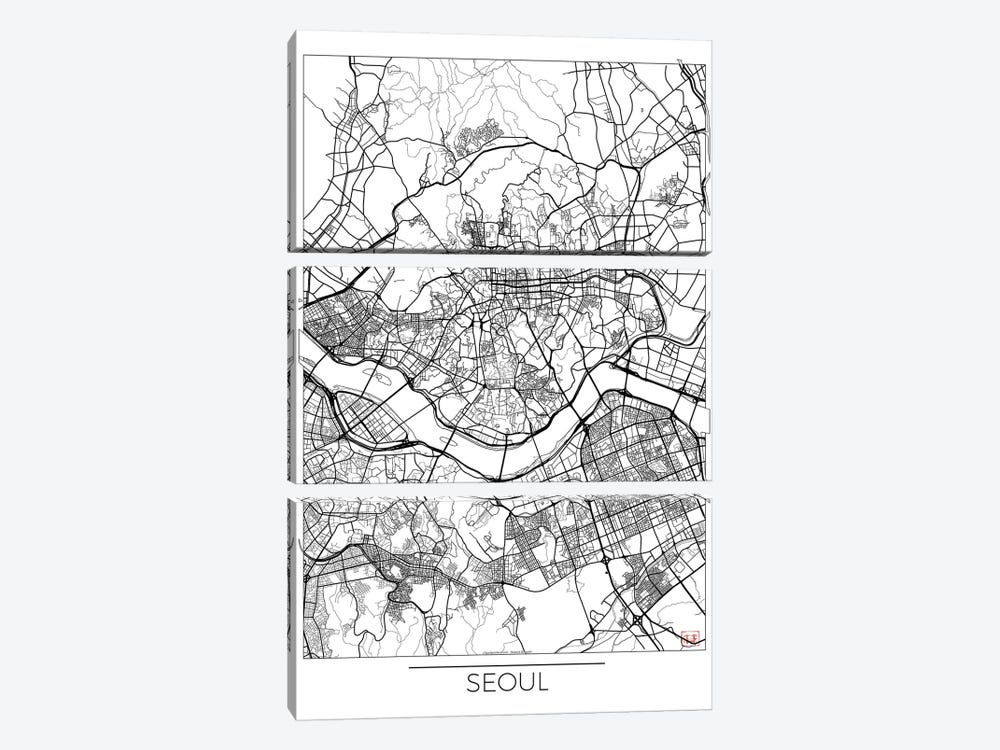 Seoul Minimal Urban Blueprint Map 3-piece Canvas Artwork