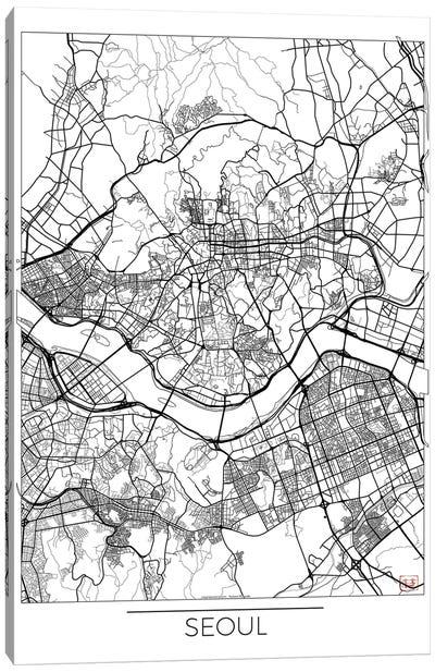 Seoul Minimal Urban Blueprint Map Canvas Art Print