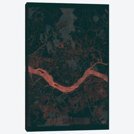 Seoul Infrared Urban Blueprint Map Canvas Print #HUR349} by Hubert Roguski Canvas Art Print