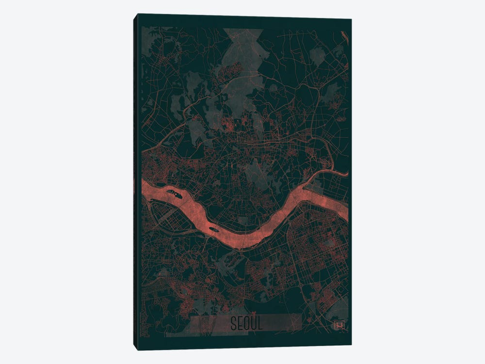 Seoul Infrared Urban Blueprint Map 1-piece Canvas Print
