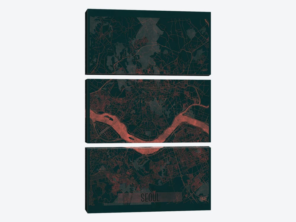 Seoul Infrared Urban Blueprint Map 3-piece Canvas Print