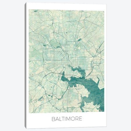 Baltimore Vintage Blue Watercolor Urban Blueprint Map Canvas Print #HUR34} by Hubert Roguski Canvas Art Print