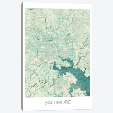 Baltimore Vintage Blue Watercolor Urban Blueprint Map Canvas Print #HUR34} by Hubert Roguski Canvas Art Print