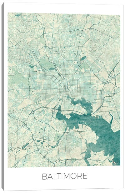 Baltimore Vintage Blue Watercolor Urban Blueprint Map Canvas Art Print