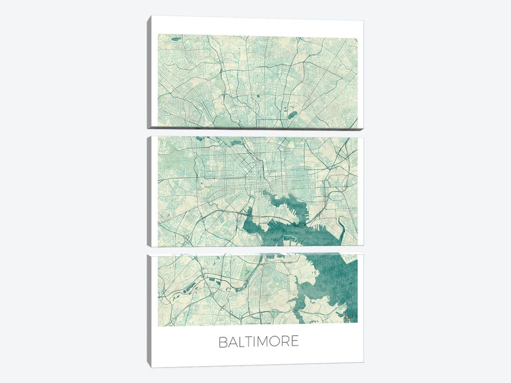 Baltimore Vintage Blue Watercolor Urban Blueprint Map by Hubert Roguski 3-piece Canvas Print