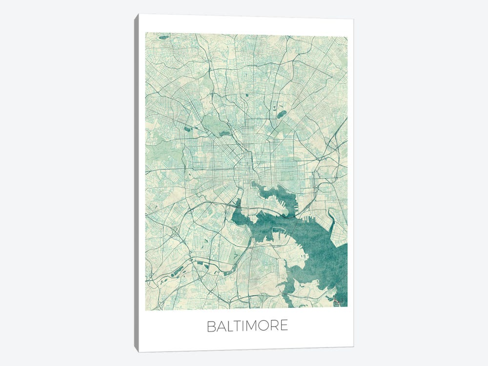 Baltimore Vintage Blue Watercolor Urban Blueprint Map by Hubert Roguski 1-piece Art Print
