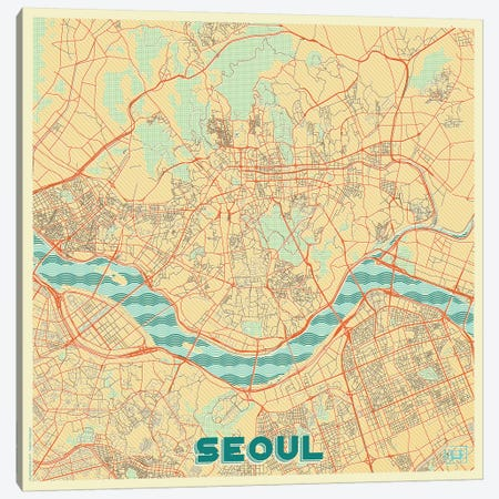 Seoul Retro Urban Blueprint Map Canvas Print #HUR350} by Hubert Roguski Canvas Wall Art