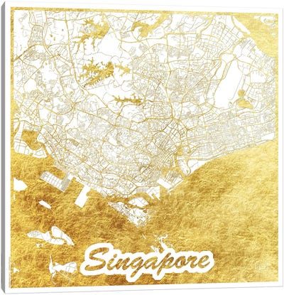 Singapore Gold Leaf Urban Blueprint Map Canvas Art Print