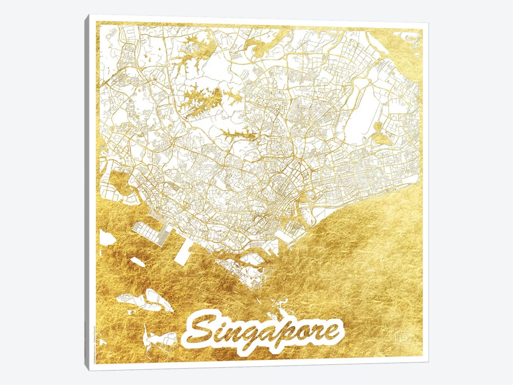 Singapore Gold Leaf Urban Blueprint Map by Hubert Roguski 1-piece Art Print