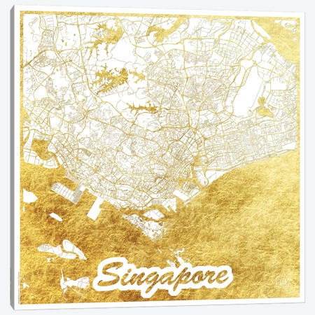 Singapore Gold Leaf Urban Blueprint Map 3-Piece Canvas #HUR352} by Hubert Roguski Canvas Artwork