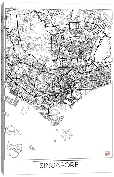 Singapore Minimal Urban Blueprint Map Canvas Art Print