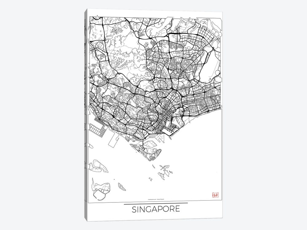 Singapore Minimal Urban Blueprint Map 1-piece Canvas Art