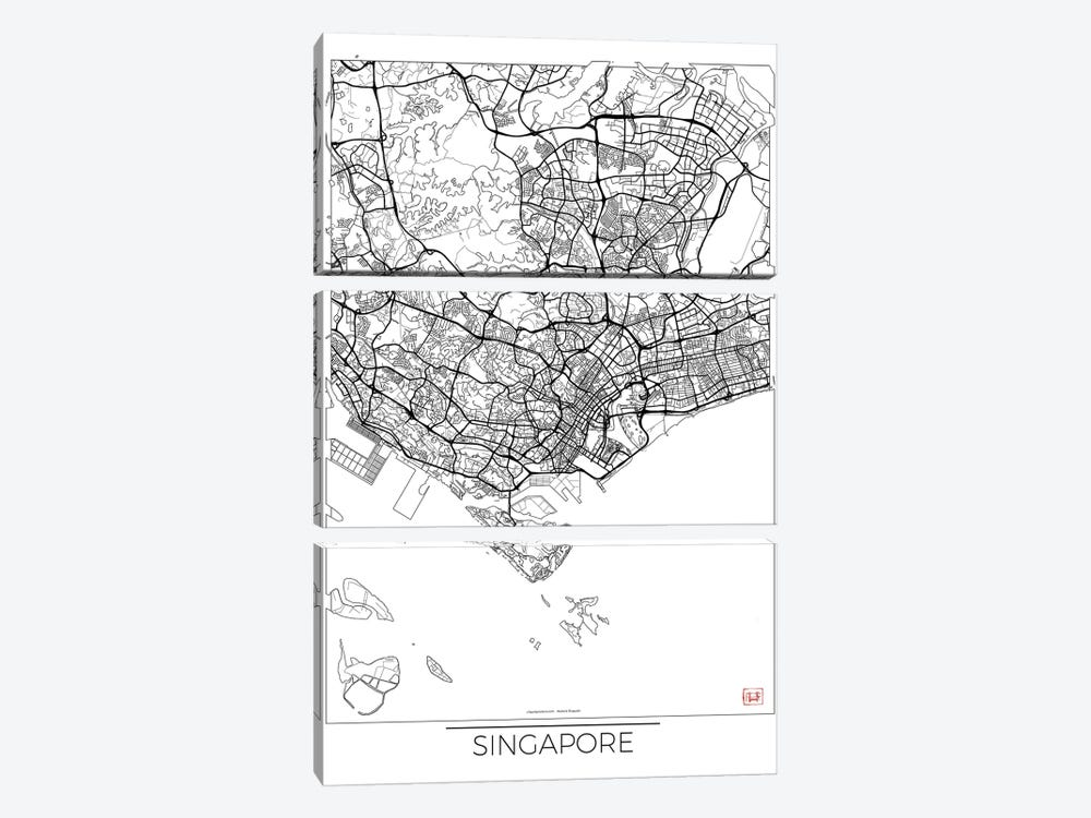 Singapore Minimal Urban Blueprint Map by Hubert Roguski 3-piece Canvas Art