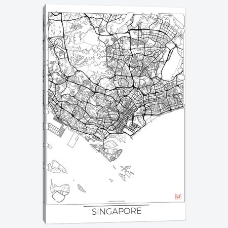 Singapore Minimal Urban Blueprint Map 3-Piece Canvas #HUR353} by Hubert Roguski Canvas Art