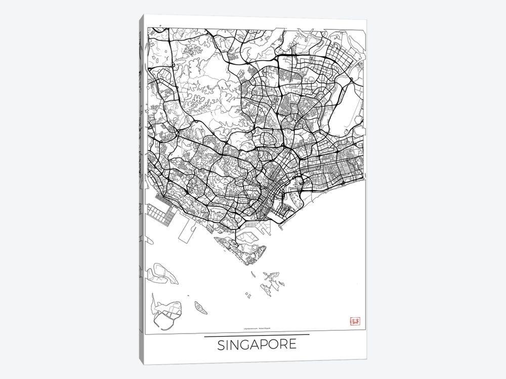 Singapore Minimal Urban Blueprint Map by Hubert Roguski 1-piece Canvas Art