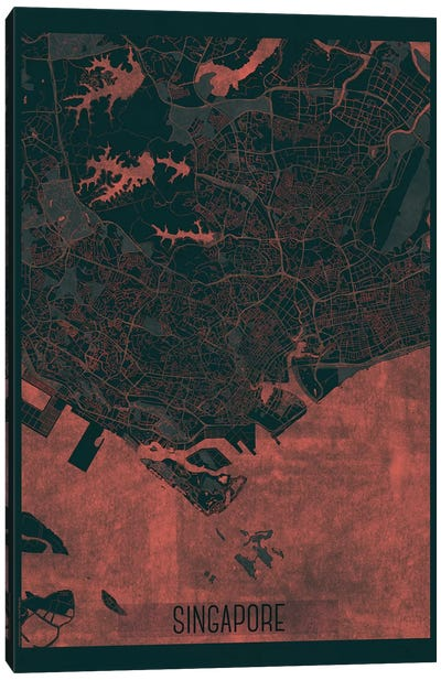 Singapore Infrared Urban Blueprint Map Canvas Art Print