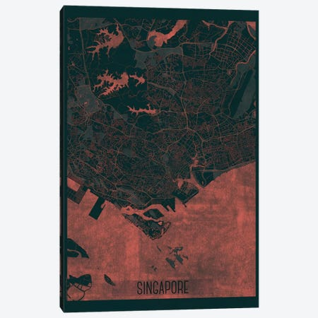 Singapore Infrared Urban Blueprint Map 3-Piece Canvas #HUR354} by Hubert Roguski Art Print