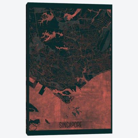 Singapore Infrared Urban Blueprint Map Canvas Print #HUR354} by Hubert Roguski Art Print