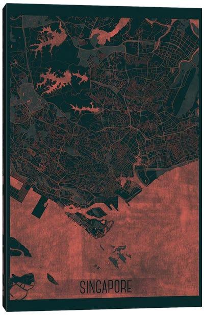 Singapore Infrared Urban Blueprint Map Canvas Art Print