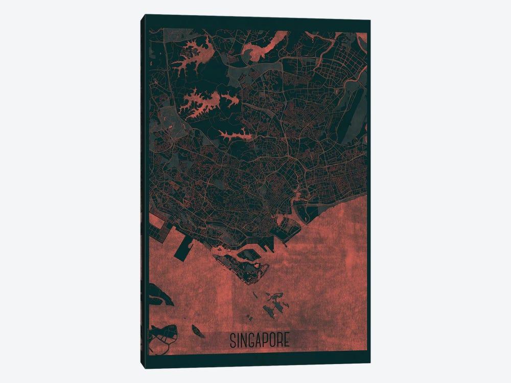Singapore Infrared Urban Blueprint Map by Hubert Roguski 1-piece Canvas Print