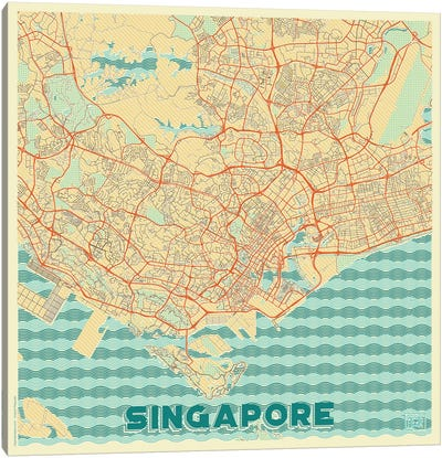 Singapore Retro Urban Blueprint Map Canvas Art Print