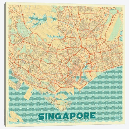 Singapore Retro Urban Blueprint Map 3-Piece Canvas #HUR355} by Hubert Roguski Canvas Print