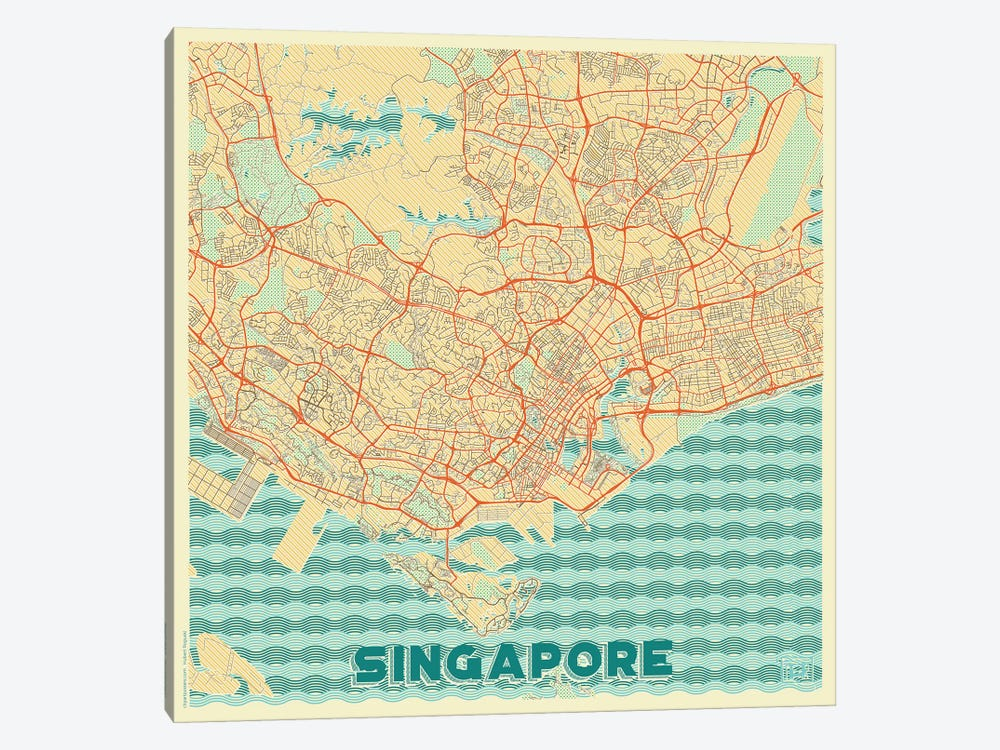 Singapore Retro Urban Blueprint Map by Hubert Roguski 1-piece Canvas Artwork