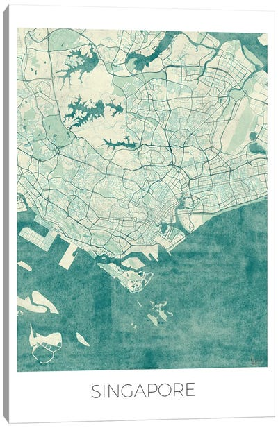 Singapore Vintage Blue Watercolor Urban Blueprint Map Canvas Art Print