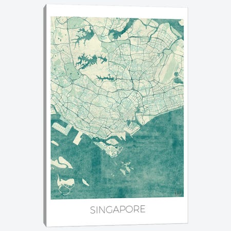 Singapore Vintage Blue Watercolor Urban Blueprint Map 3-Piece Canvas #HUR356} by Hubert Roguski Art Print