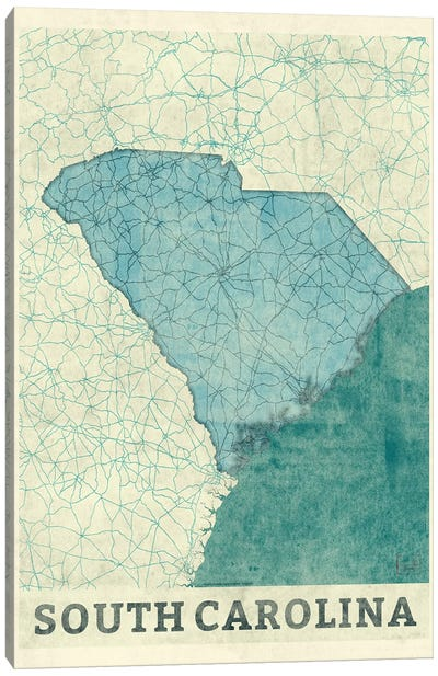 South Carolina Map Canvas Art Print