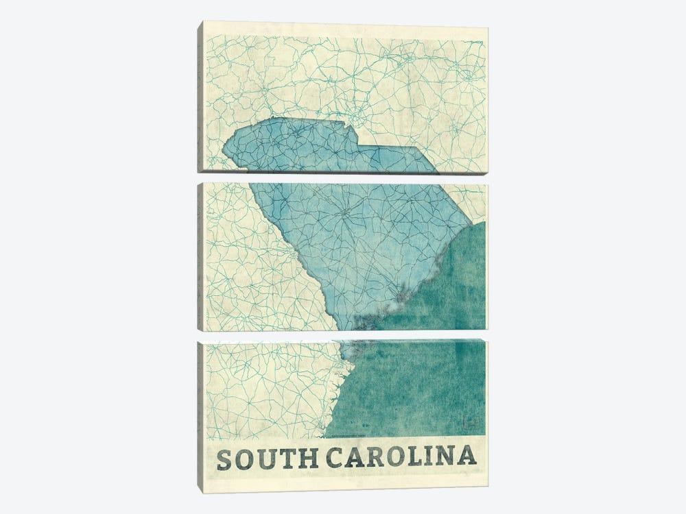 South Carolina Map by Hubert Roguski 3-piece Canvas Wall Art