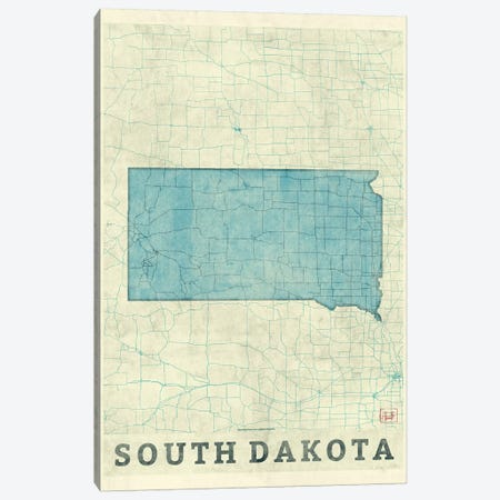 South Dakota Map Canvas Print #HUR358} by Hubert Roguski Canvas Wall Art