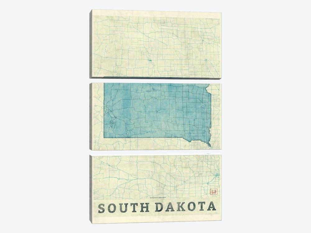 South Dakota Map by Hubert Roguski 3-piece Canvas Print
