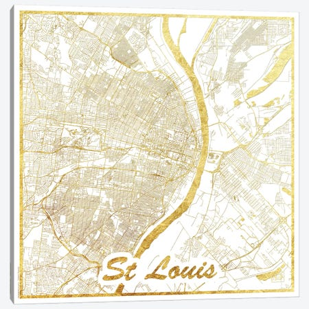 St. Louis Gold Leaf Urban Blueprint Map Canvas Print #HUR359} by Hubert Roguski Canvas Artwork