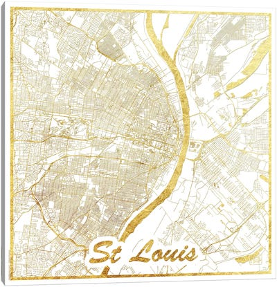 St. Louis Gold Leaf Urban Blueprint Map Canvas Art Print