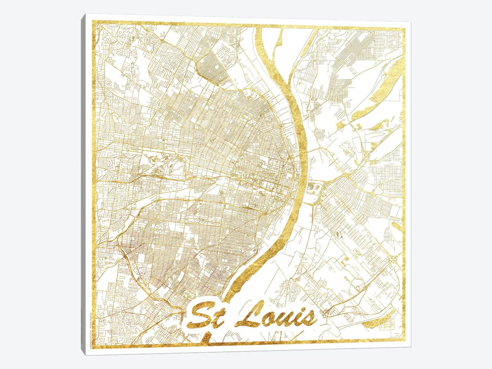 St. Louis Gold Leaf Urban Blueprint Map by Hubert Roguski 1-piece Canvas Wall Art