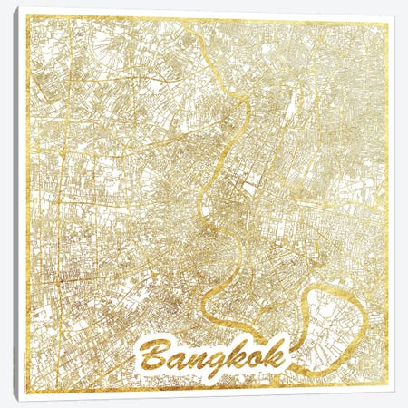 Bangkok Gold Leaf Urban Blueprint Map Canvas Print #HUR35} by Hubert Roguski Canvas Art Print