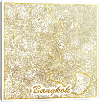 Bangkok Gold Leaf Urban Blueprint Map Canvas Art Print