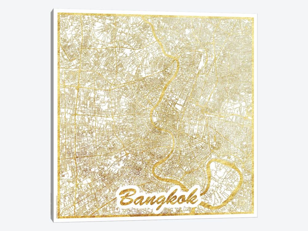 Bangkok Gold Leaf Urban Blueprint Map by Hubert Roguski 1-piece Canvas Art