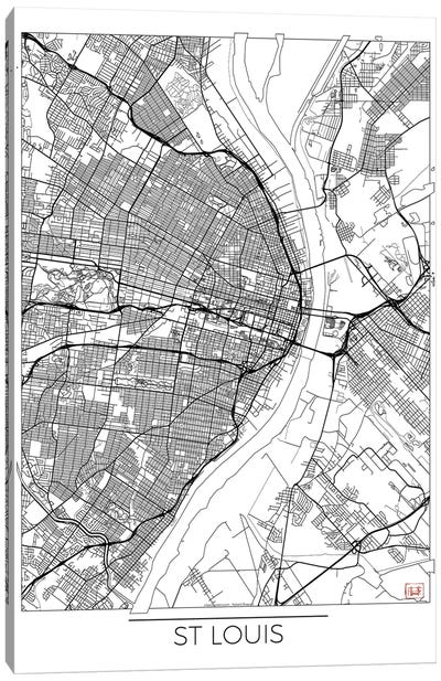 St. Louis Minimal Urban Blueprint Map Canvas Art Print