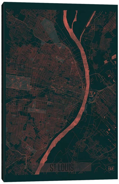 St. Louis Infrared Urban Blueprint Map Canvas Art Print