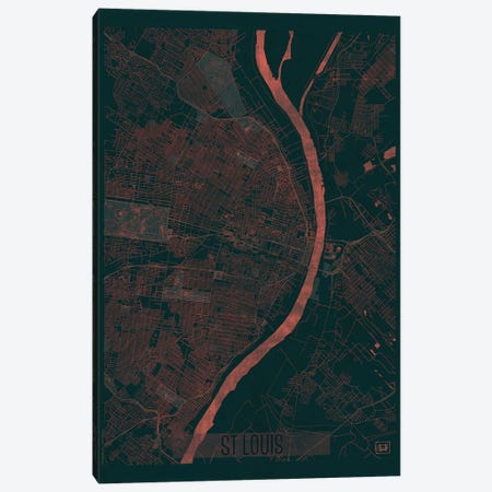 St. Louis Infrared Urban Blueprint Map 3-Piece Canvas #HUR361} by Hubert Roguski Canvas Print